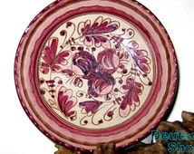 Primitive plate flowers Italian majolica Masud technology cherry wall plate ceramic Renaissance collector plate ART gift ideas