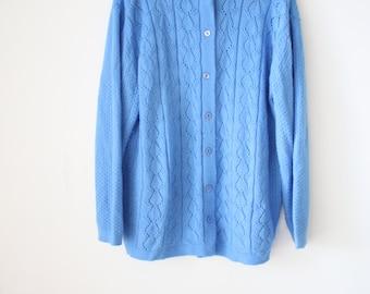 Vintage Knit Cardigan, Blue knitted Cardigan Sweater, Small Medium