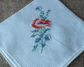 Vintage Handkerchief White Hankie with Embroidered Flowers