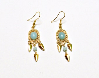 Gold plated Amazonite Earrings