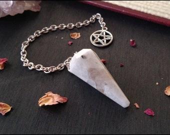 Moonstone Pendulum With Pentagram Charm