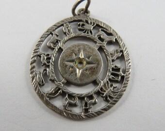 Zodiac Clock Sterling Silver Charm or Pendant.