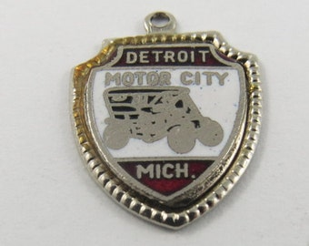 Enameled Motor City Detroit Michigan Silver Charm of Pendant.