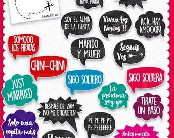 Boda Photo Booth props BODA Imprimible 20 Frases Props
