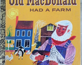 vintage Little Golden Book, Old MacDonald Had a Farm, pictures by Moritz Kennel,  17th printing, 1981