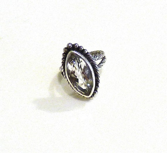 STERLING SILVER White Quartz Ring ~ Lori Bonn White Quartz Ring ~ Multi-Faceted Marquis Cut ~ Cocktail ~ Size 7.5