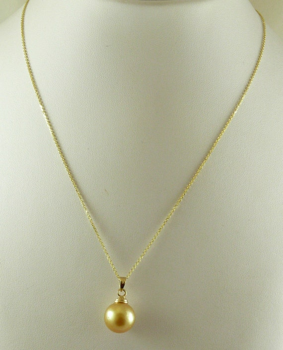 South Sea Golden 12.6mm & 12.5mm Pearl Pendant with 14K Yellow Gold Chain 18''