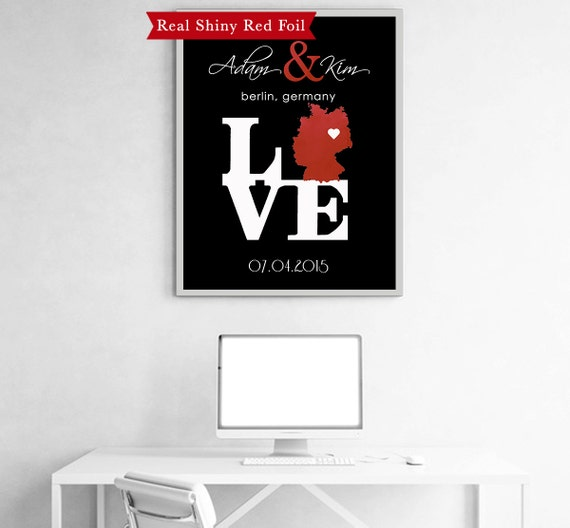 German Wedding Gift Ideas: Items Similar To Real Shiny Red Foil Wedding Gift Ideas