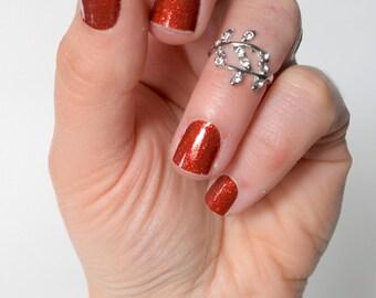 Ruby Red Diamond Glitter Vinyl Nail Wrap, Garnet, Crimson, Scarlet