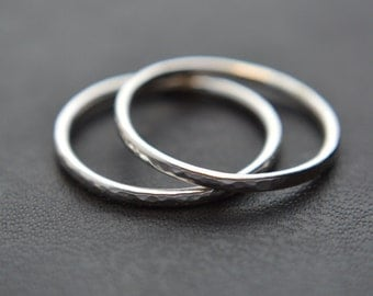Stacking Ring Set of Two, Hammered Stacking Rings, Sterling Silver, Knuckle Rings, Pinkie Rings, 925 Sterling Silver