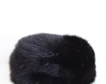"50s I. Magnin Mink Pillbox Hat- Black, Mint Condition, Jackie O, 22"", Vintage, Mid Century"