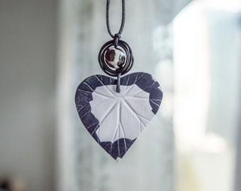 Polymer clay black and white heart necklace-Agate-Natural stones-Polymer clay pendant