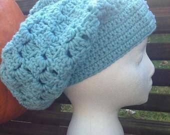 Slouchy Hat- Sideways Shell Stitch Crochet Slouchy- Teal