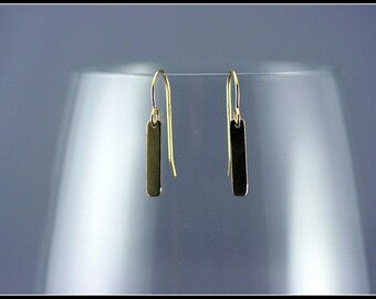 Gold dash earrings - tiny bar dangle earrings gold - delicate modern jewelry - dangle and drop