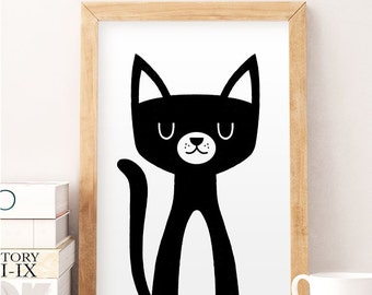 Cat print, Cute cat art, Nursery wall art, Funny kids print, Cat wall art, Baby room art, Kitten print, Kitten wall art, Black cat print