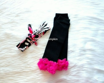 Black and Hot Pink Leg Warmers with beautiful floral cotton knot headband, leg warmer set, baby shower gift