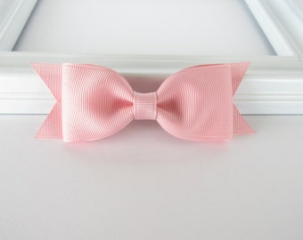 Light pink tuxedo bow, baby toddler girl 4 inch light pink bow, school bow, everyday basic bow, grosgrain bow hair clip