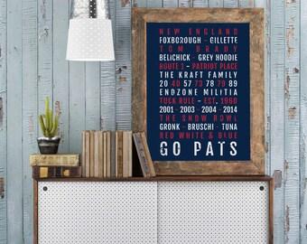 New England Patriots Print -  Pats - Subway Poster, Boyfriend Gift, Husband Gift, Wall Art, Train Scroll, Bus Scroll, Word Art, Typography