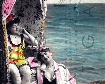 Victorian Bathers. Vintage Bathing Beauties. Antique Beach Fashion. Bathing Beauty Digital Download. Hand Tinted Photo Postcard.