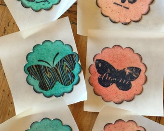 Handmade Stamped Butterfly Stickers