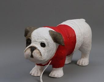 Little Bulldog in paper mache with his Sweatshirt Red