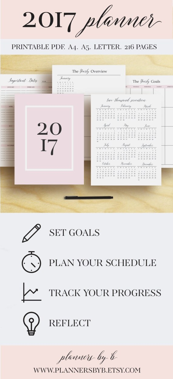 Eccezionale 2017 Planner Printable 2017 Monthly Planner 2017 Weekly DO63