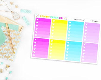 Ombre Full Boxes // Fancy Flowers (Planner Stickers for Erin Condren Vertical and MAMBI The Happy Planner)