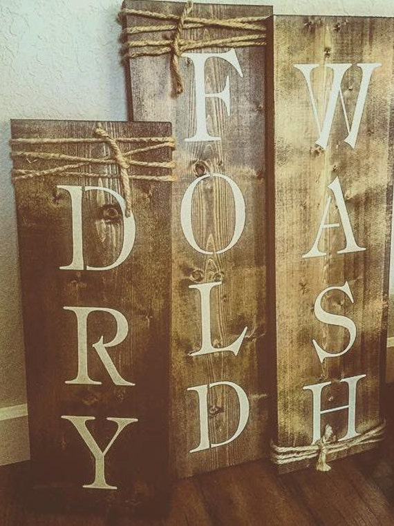 wash dry fold set of 3 rustic signs laundry room decor