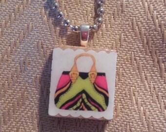 Purse on Scrabble Tile, Scrabble Tile Pendant, Purse, Scrabble Jewelry, Jewelry, Purses, Pendant,