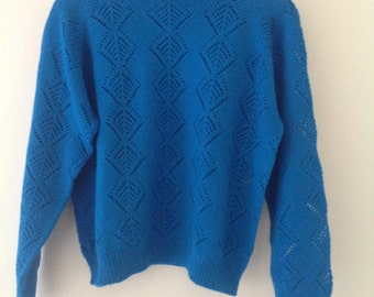 70's vintage blue wool knitted jumper,sweater,ladies,women's,crew neck, small