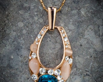 FINAL SALE Lovely Blue Gem Necklace - 18K Rose Gold Plated & Cubic Zirconia, Jewelry, Handmade Pendant, Handmade Necklace, Gold Jewelry