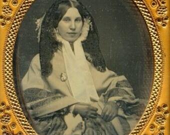 Original Victorian bonnet veil. Chantilly black lace. 1860s