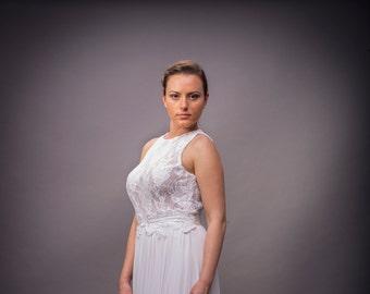 Boho- Romantic wedding dress, Backless wedding dress, White wedding dress, Lace wedding dress, Bohemian Bridal dress, Romantic Gown