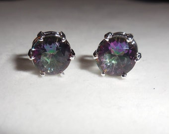 Mystic topaz Earrings, 8mm Studs, 925 Sterling silver setting post and backing, Butterfly Backing