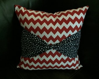 Patriotic Chevron Throw Pillow