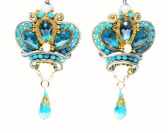 Soutache Earrings Turquoise Crown Gold Crown Princess