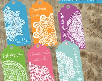 Printable Handcrafted Gift Tags with Care Instructions, Tags for gifting, Gift care instructions, washing instruction tag, knitting crafting