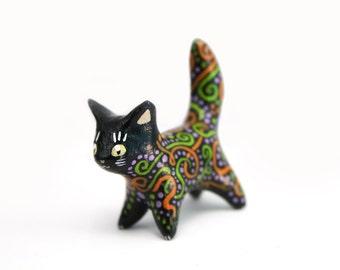 Black cat figure - cute animal totem figure fantasy creature figure - velvet clay polymer clay figurine - clay miniature - Birthday gift