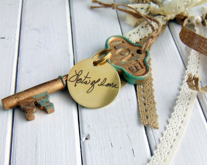 Handwritten Brass Keychain- your own handwriting, Circle Key Chain, Stainless Steel, Brass, personalized custom keychains, handwritten gifts