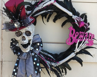 Skeleton wreath,Halloween wreath,Skull wreath,Black halloween wreath,Feather wreath,Pink skeleton wreath,Pink and black wreath,pink wreath