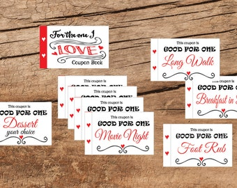 Love coupon book. For the one I Love gift. Valentine Coupons Set of 30. Instant printable. PDF. DIY coupon book. Husband gift. Wife gift.