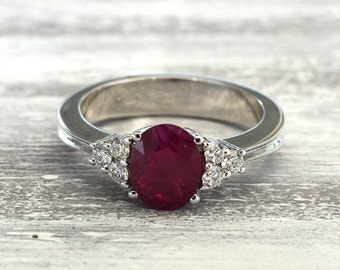 Ruby engagement ring, gold ruby ring, halo ruby ring, cut ring, unique engagement ring, promise ring, anniversary ring, promise ring for her