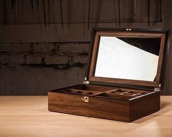 Jewelry Box - Walnut & Ebony, Handmade, Handfinished Jewelry case