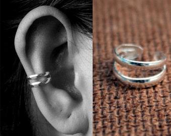 925 Sterling Silver Double Ear Cuff - Silver Ear Wrap - Cartilage Ear cuff - Simple Ear Cuffs - Non pierced ear cuffs - Bridesmaid Gift