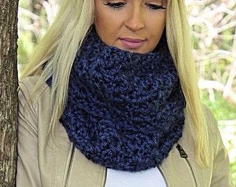Navy Blue Infinity Scarf, Navy Blue Scarf, Blue Loop Scarf, Blue Crochet Scarf,Chunky Infinity Scarf,Dark Blue Scarf, Blue Scarf, THE ALBANY
