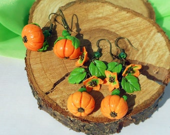 Cute Pumpkin Earrings handmade of polymer clay Halloween jewelry Orange autumn earrings thanksgiving Jewelry pumpkin Harvest jewelry Gift