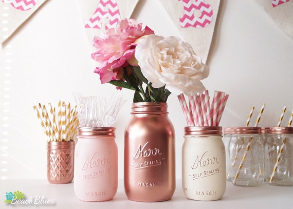 Valentine's Day Gift for Her Home decor Painted mason jars kitchen storage Canisters vase rose gold copper blush cream pink