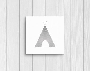 Tipi, gray chevron, square 10x10, 8x8, & 5x5 Art Decor Digital Print