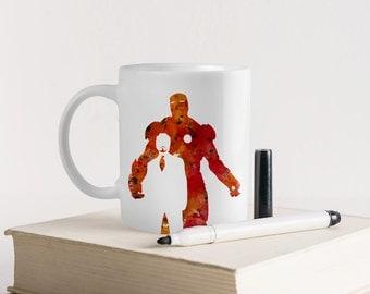 Unique Coffee Mug-Personalized mug-Coffee mug-Personalized gift-Marvel Mug-Ironman mug-Watercolor Mug-Art Mug-Gift for kids-HuppyMugs