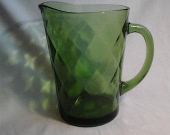 Green Diamond Glass Pitcher, Avocado Hazel Atlas Water Pitcher, Diamond Pattern